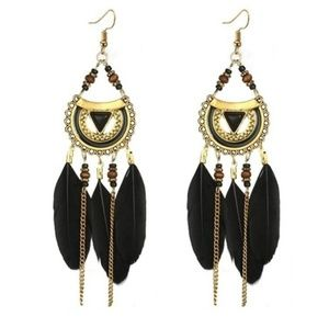 Boho Feather Hippie Bohemian Earrings
